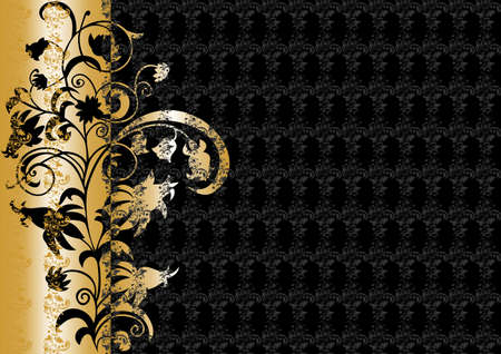 Abstract floral ornament in black and gold colors Illustration