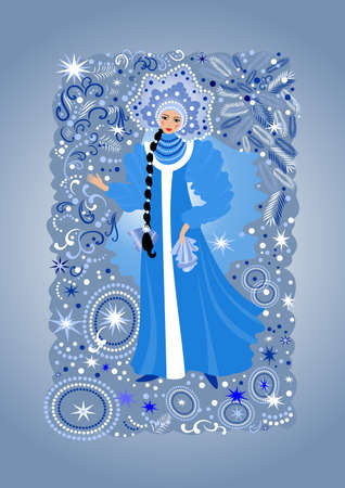 Illustration of beautiful snow maiden with background