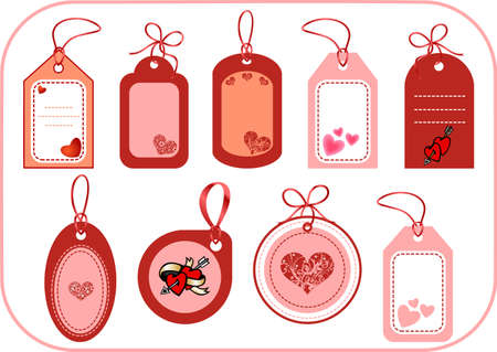 Set of labels with hearts. Vector illustration