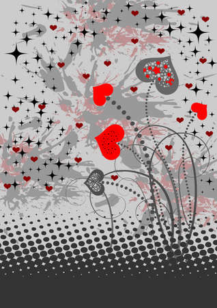 cordial: Illustration of abstract background with red hearts