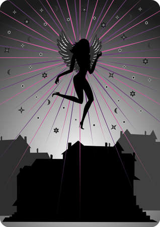 Illustration of dark angel soaring over houses Illustration