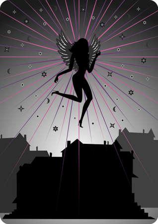 Illustration of dark angel soaring over houses Illustration