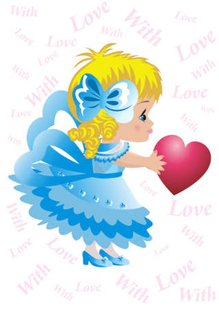 Illustration of a little girl with heart