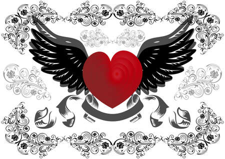 Illustration of heart with wings and background