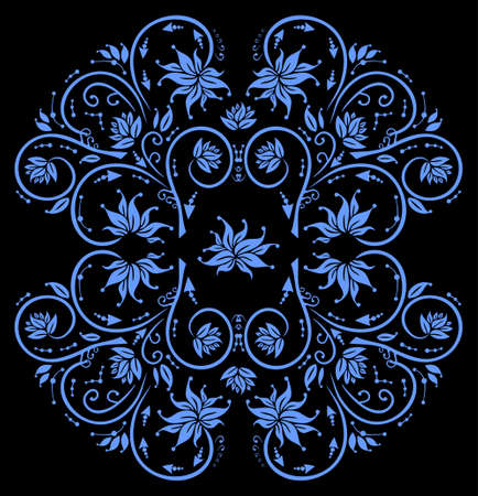 Illustration of abstract floral ornament in blue color