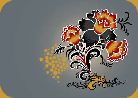 Decoration from abstract flowers. illustration Vector