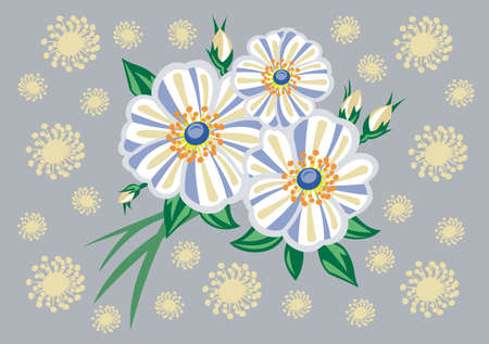 Abstract white flowers with background. illustration Illustration