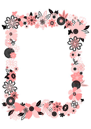 pink and black: Frame from abstract flowers and butterflies. illustration