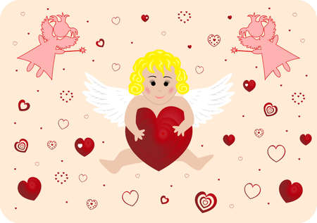Illustration of little angel with big heart Illustration
