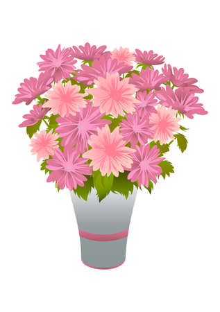 Bouquet of pink asters in blue vase. illustration Vector