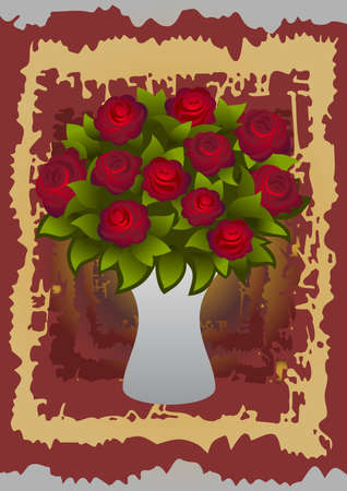 Illustration of beautiful red roses in vase with background