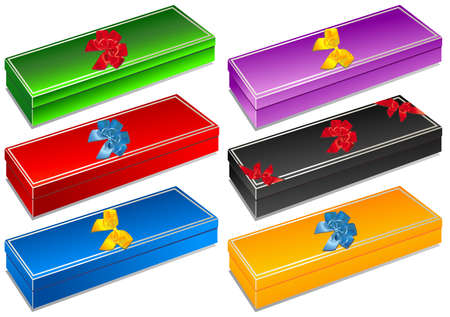 Illustration of gift boxes with colorful decorative bows