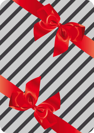 Illustration of gift wrapping with two ribbons