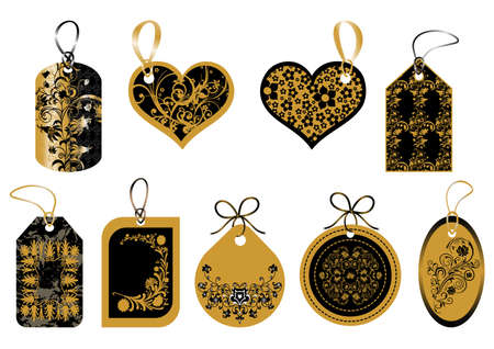 Set of labels in gold and black colors