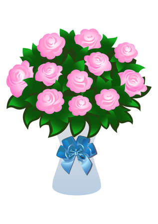 flowers in vase: Illustration of beautiful pink roses with bow Illustration