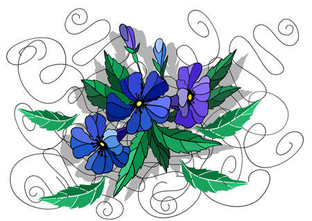 fragrant bouquet: Illustration of beautiful abstract flowers in blue colors Illustration