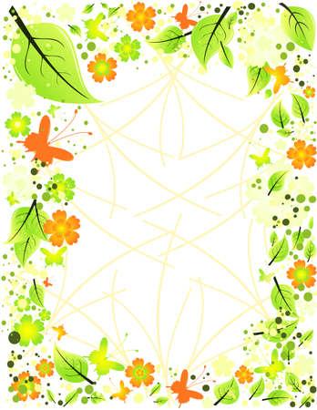 azahar: Marco de flores abstractas, hojas y mariposas