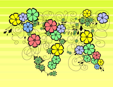 Illustration of abstract floral ornament with background