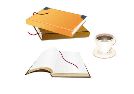 Illustration of books and a coffee cup