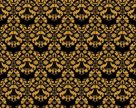 Illustration of golden seamless ornament