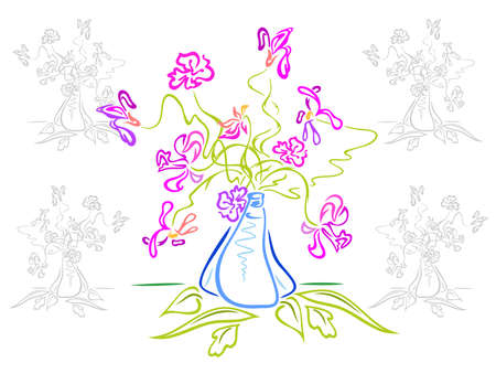 Bouquet of abstract flowers in vase Illustration