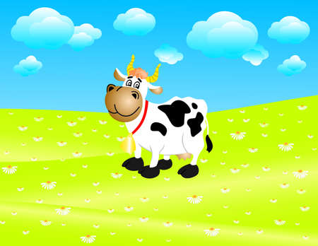Illustration of a cow on a meadow