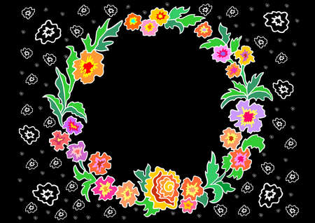 Illustration of wreath from abstract flowers