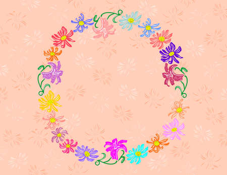 Illustration of wreath from abstract flowers with background