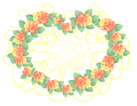 Illustration of abstract roses formed as wreath