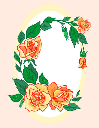 oval: Illustration of abstract roses frame
