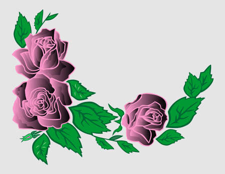 Illustration of abstract roses corner