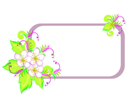 Illustration of abstract flowers with frame