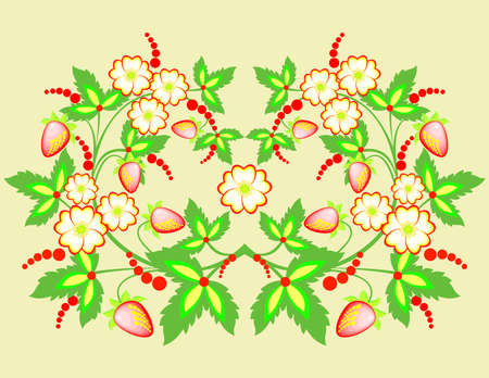 Illustration of abstract flowers and strawberries Illustration