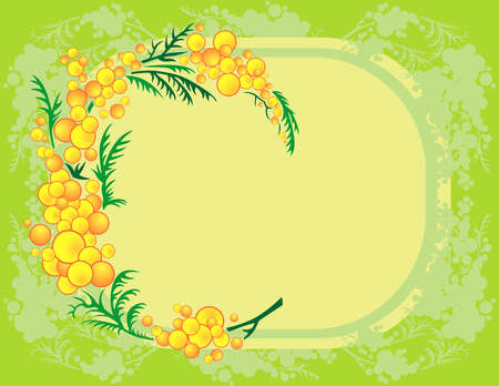 Illustration of abstract mimosa branch with frame and background