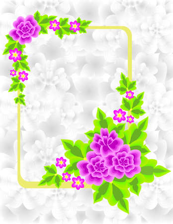 Illustration of abstract flowers in frame with background Stock Vector - 13429994