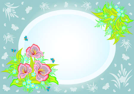Illustration of abstract flowers in frame with background Vector