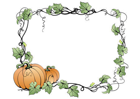 botanical farms: Illustration of abstract pumpkins and leaves in frame