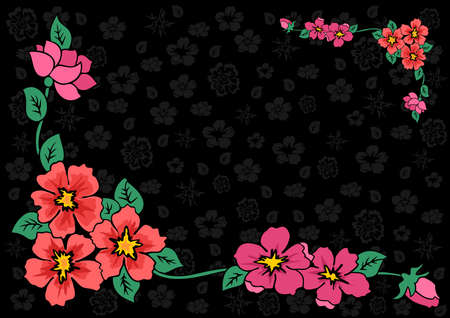 Illustration of abstract floral corner with dark background Stock Vector - 14154366