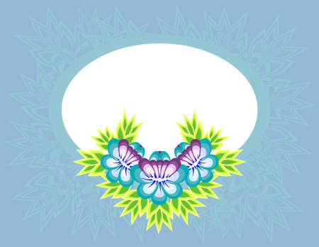 Illustration of frame with abstract flowers and background Illustration