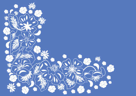 Illustration of abstract floral corner with blue background  Illustration
