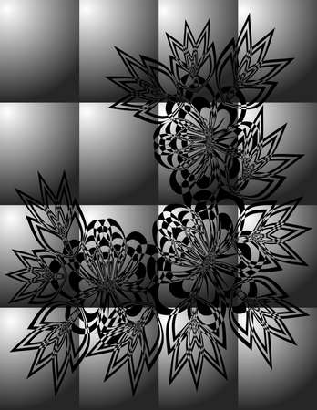 Illustration of abstract black floral ornament on grey background Illustration