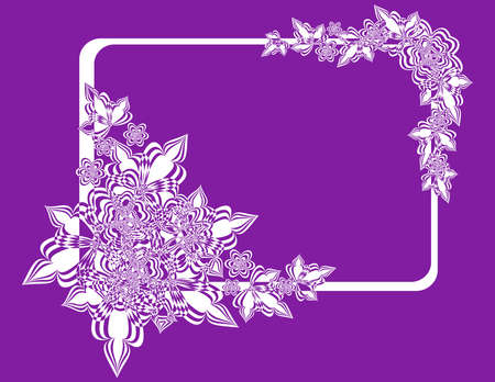 Illustration of frame with abstract flowers on lilac background