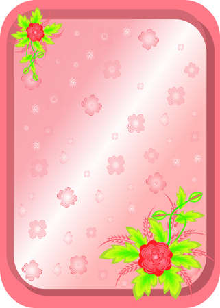 Illustration of frame with abstract flowers and background Vector