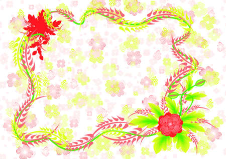 Illustration of frame with abstract flowers and background Stock Vector - 14421812