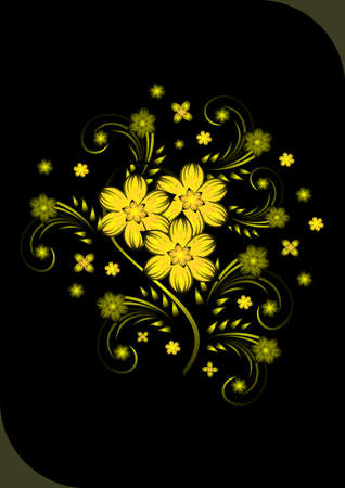 Illustration of abstract golden flowers on black background Stock Vector - 14614442