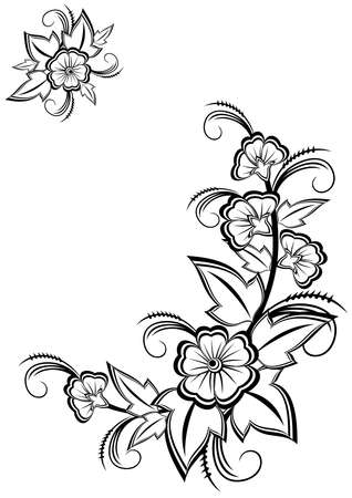 Illustration of abstract black and white floral corner  Illustration