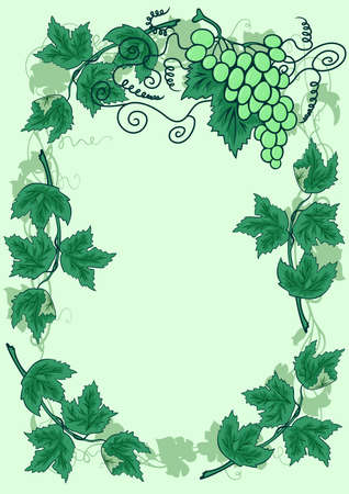 Illustration of abstract grapevine with frame from leaves Vector