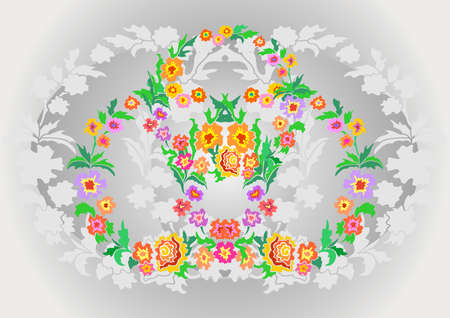 Illustration of wreaths from abstract flowers on floral background  Illustration