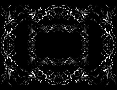 Illustration of abstract white floral ornament on dark background Illustration