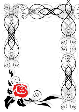twigs: Illustration of frame with abstract rose